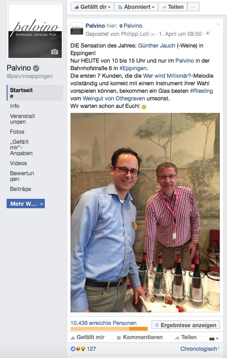 Günther Jauch in Eppingen Facebook Post Aprilscherz